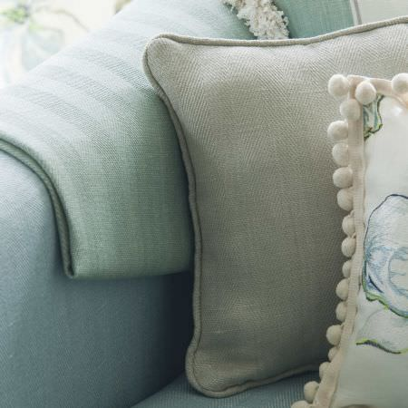 Prestigious Textiles -  English Rose Fabric Collection - Cushions with herringbone design and a floral print in blue and green