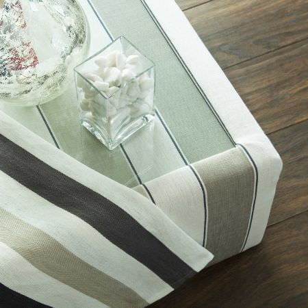 Prestigious Textiles -  English Rose Fabric Collection - A white and brown striped coffee table upholstery for a modern house and white, brown and sandy striped fabric