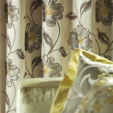 Prestigious Textiles -  Exquisite Fabric Collection - White curtain with silver and yellow flower and vine grid from the Exquisite fabric collection