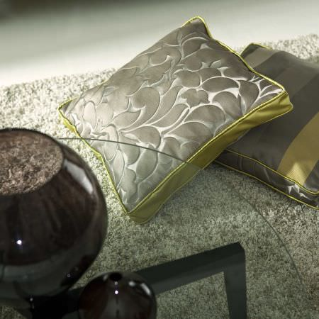 Prestigious Textiles -  Exquisite Fabric Collection - Square modern design cushions with stripes or  a modern leaf pattern