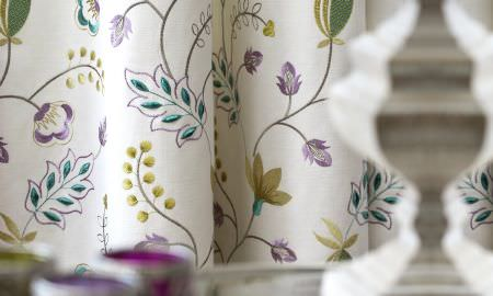 Prestigious Textiles -  Fiorella Fabric Collection - Leaf and bud design curtains, white with green, blue and pink detailing