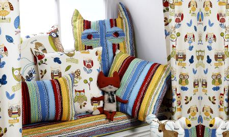 Prestigious Textiles -  Forest Friends Fabric Collection - Childrens bedroom curtains, cushions and windowseat, strong primary colours, striped and owl designs