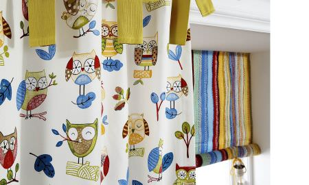 Prestigious Textiles -  Forest Friends Fabric Collection - Owl design curtain and striped Roman blind for childrens bedroom