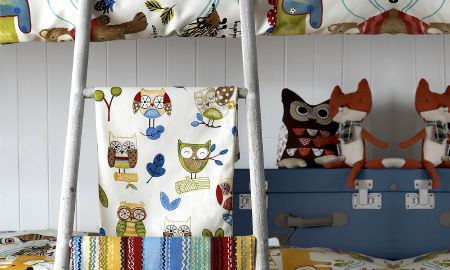Prestigious Textiles -  Forest Friends Fabric Collection - Owl design throw for childs bedroom