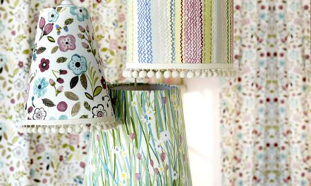 Prestigious Textiles -  Forest Friends Fabric Collection - Springtime lampshades - floral and zigzag designs in pastel colours from the Forest Friends collection