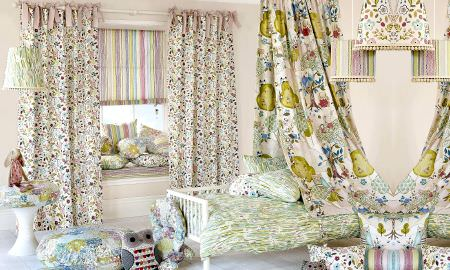 Prestigious Textiles -  Forest Friends Fabric Collection - Forest Friends collection bedroom - floral and zigzag designs in pastel green, pink, blue, yellow and cream