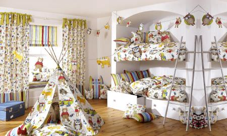 Prestigious Textiles -  Forest Friends Fabric Collection - Forest Friends collection childrens bedroom, animal and owl design curtains, cushions, duvet cover, Roman blind and teepee