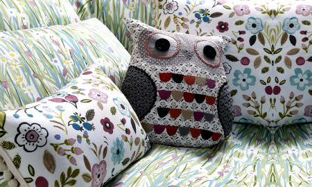 Prestigious Textiles -  Forest Friends Fabric Collection - Spring flower design cushions, owl design cushion from the Forest Friends Collection