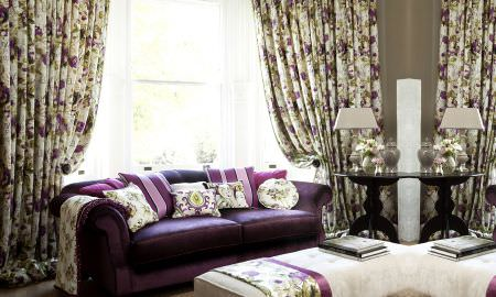 Prestigious Textiles -  Fragrant Harbour Fabric Collection - Traditional elegance, purple striped sofa cushions and green, cream and purple floral design curtains