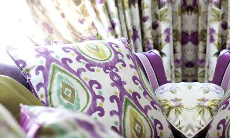 Prestigious Textiles -  Fragrant Harbour Fabric Collection - Contemporary cushion design, green and purple detailing