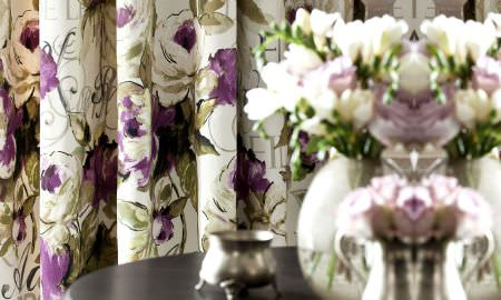 Prestigious Textiles -  Fragrant Harbour Fabric Collection - Green and purple floral design curtains from the Fragrant Harbour Collection