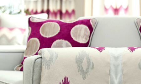 Prestigious Textiles -  Funfair Fabric Collection - Pink and cream cushion with matching cream, greay and pink throw, cotton with shiny detail