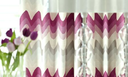 Prestigious Textiles -  Funfair Fabric Collection - Zigzag style design curtains in cream, pink and grey from the Funfair Collection