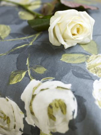 Prestigious Textiles -  Garden Party Fabric Collection - Dark blue cushion with white roses print from the Garden Party fabric collection