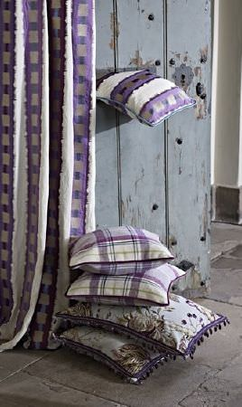 Prestigious Textiles -  Grand Palais Fabric Collection - Checked, floral and striped fabrics in ivory and dusky purple shades, covering curtains and five square scatter cushions