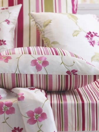 Prestigious Textiles -  Harmony Fabric Collection - Pink, green and white cushions and curtains, in striped and floral patterns