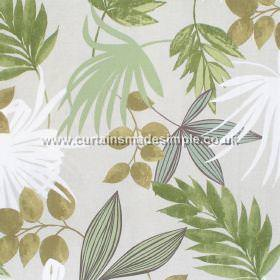 Prestigious Textiles -  Hawaiian Fabric Collection - White fabric with green leaves making a Hawaiian impression from the Hawaiian fabric collection