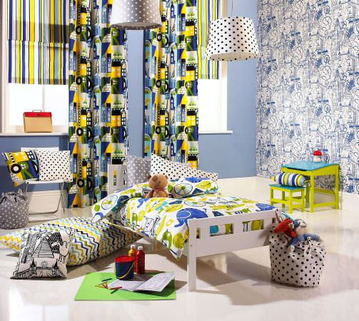 Prestigious Textiles -  Ideal World Fabric Collection - Boys bedroom with Roman blinds, curtains, cushions and duvet cover in blue, white, green, yellow and grey animal, zigzag and stripes