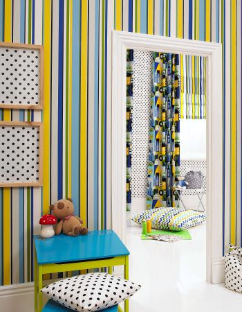 Prestigious Textiles -  Ideal World Fabric Collection - Striped wallpaper, spooted moodboards, zigzag floor cushion for boys bedroom