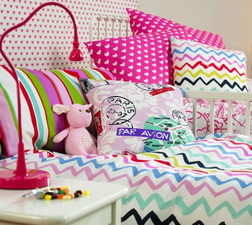 Prestigious Textiles -  Ideal World Fabric Collection - Colourful duvet cover, headboard and cushions for girls bedroom, hearts, zigzags ans stripe designs for style and comfort