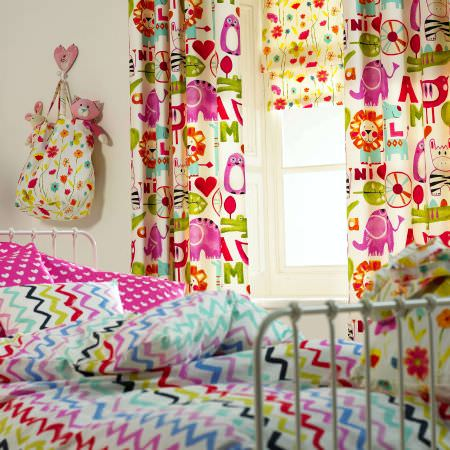 Prestigious Textiles -  Ideal World Fabric Collection - Fun and colourful animal motif curtains for girls bedroom, floral Roman blind to match in greens, pink, purple, red and white.