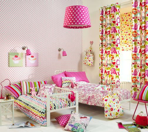 Prestigious Textiles -  Ideal World Fabric Collection - Hearts and flowers girls bedroom - duvet cover, cushions, curtains and Roman blind in pinks and greens from the Ideal World Collection