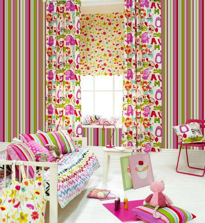 Prestigious Textiles -  Ideal World Fabric Collection - Stripes and animals girls bedroom - curtains and Roman blind, cushions and throw in greens and pinks