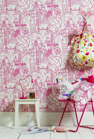 Prestigious Textiles -  Ideal World Fabric Collection - Pink and white travel motif cushions and wallpaper for girls bedroom from the Ideal World Collection