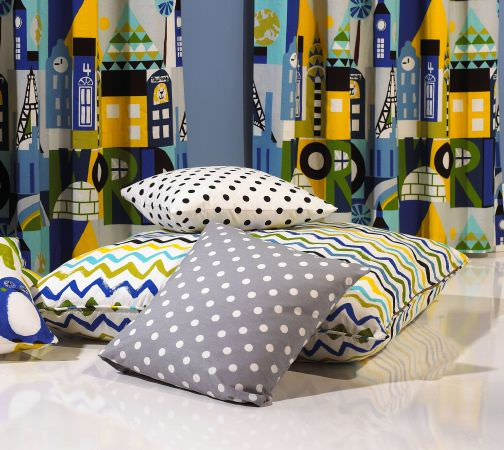 Prestigious Textiles -  Ideal World Fabric Collection - Zigzags and spots - fun cushions for boys bedroom in grey, white, green, blue and yellow
