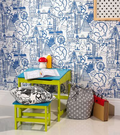 Prestigious Textiles -  Ideal World Fabric Collection - Blue and white or black and white travel motif cushions and wallpaper for boys bedroom