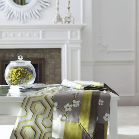 Prestigious Textiles -  Imperial Fabric Collection - Fabric with flowers and modern pattern from the Imperial fabric collection