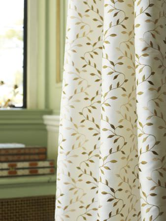 Prestigious Textiles -  Indulgence Fabric Collection - Classic white curtain with gold vines from the Indulgence fabric collection