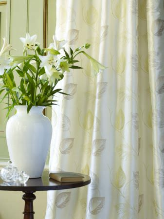 Prestigious Textiles -  Indulgence Fabric Collection - Classic white curtain with stitched leaves for a classic house setting