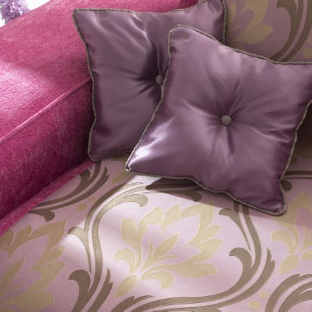 Prestigious Textiles -  Inspirations Fabric Collection - Dark purple classic cushions with buttons on a modern upholstered armchair with a lilac cover with a classic design