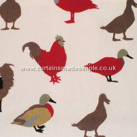 Prestigious Textiles -  Its A Dogs Life Fabric Collection - White fabric with red and brown images of roosters, ducks and geese