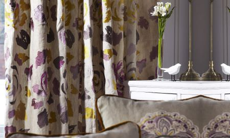 Prestigious Textiles -  Jamboree Fabric Collection - Floral curtains, scattered petal design in tan, purple and yellow, from the Jamboree Collection