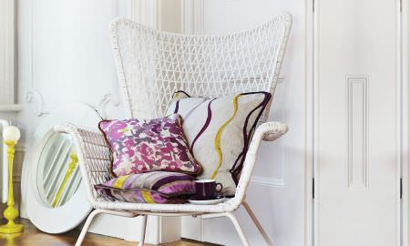 Prestigious Textiles -  Jamboree Fabric Collection - Armchair cushions from the Jamboree Collection, florals and stripes in tan, yellow and purple
