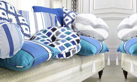 Prestigious Textiles -  Lakota Fabric Collection - Cushion comfort - beautiful blue, white and grey cushions in various shapes and sizes and stles - stripes, squares, tasselled