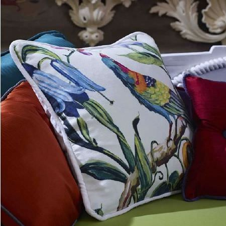Prestigious Textiles -  Life Fabric Collection - Square white cushion with a multicoloured design of flowers and exotic birds, with plain red, orange, green and blue square cushions