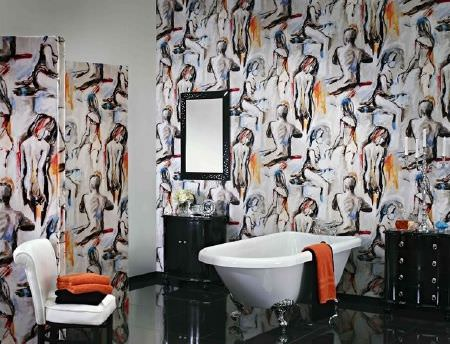 Prestigious Textiles -  Life Fabric Collection - Wallpaper and screen covered with sketches of the human form, classic rolltop bath, white padded chair, black cabinets, black framed mirror