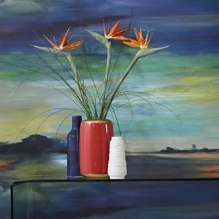 Prestigious Textiles -  Life Fabric Collection - Simple table made from sheet of clear perspex in front of a watercolour scene, with one blue vase, one cylindrical red vase, one white vase