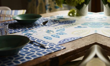Prestigious Textiles -  Linden Fabric Collection - Geometric shape and leaf pattern design table runner from the Linden Fabric Collection