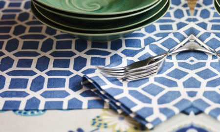 Prestigious Textiles -  Linden Fabric Collection - Blue and white geometric design table linen fabric