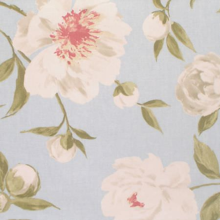 Prestigious Textiles -  Living Fabric Collection - Swatch of pale blue fabric printed with cream and pink flowers and buds, and green leaves