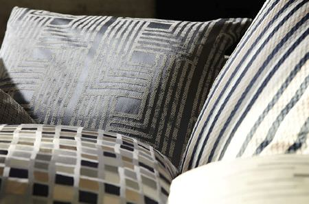 Prestigious Textiles -  Metropolis Fabric Collection - Coordinating cushions with stripes, squares and geometric prints, in grey, black, silver, cream and beige