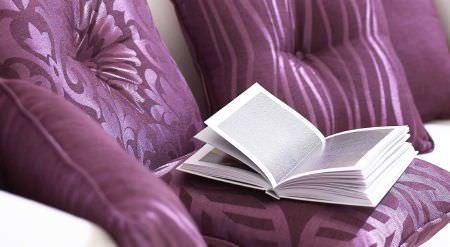 Prestigious Textiles -  Mexicana Fabric Collection - Mexicana collection purple cushions with close up of stripe and leaf designs