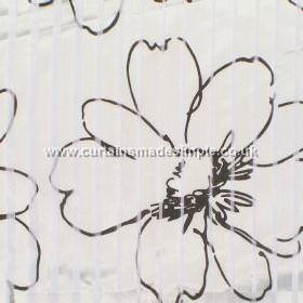 Prestigious Textiles -  Minerals Fabric Collection - White fabric with black flower sketchings from the Minerals fabric collection