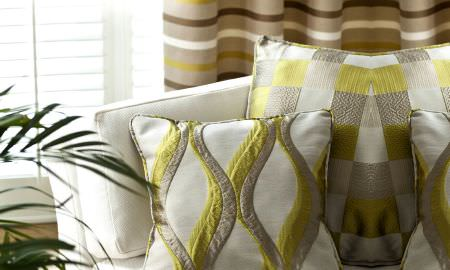 Prestigious Textiles -  Mode Fabric Collection - Mode Fabric Collection cushion designs - geometric patterns in cream and shades of green