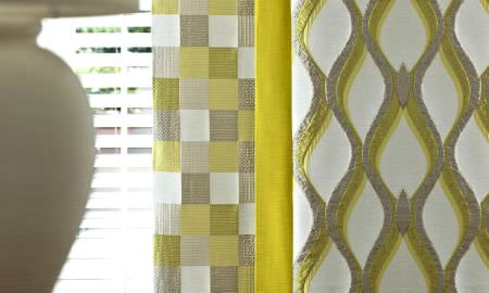 Prestigious Textiles -  Mode Fabric Collection - Curtain designs from Mode Fabric Collection - Geometric designs in cream, green and grey