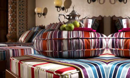 Prestigious Textiles -  Monte Carlo Fabric Collection - Striped throws and cushons in purples, blues and reds from the Montecarlo Collection